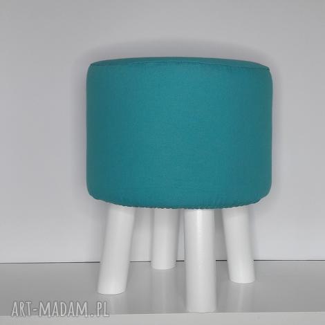 pufa gładki turkus - 36 białe nogi, puf, taboret, hocker, vintage, stołek