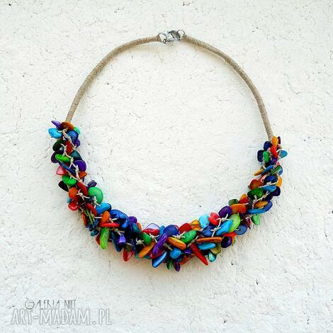 pleciony naszyjnik colorful kolorowy naszyjnik, biżuteria z masy perłowej