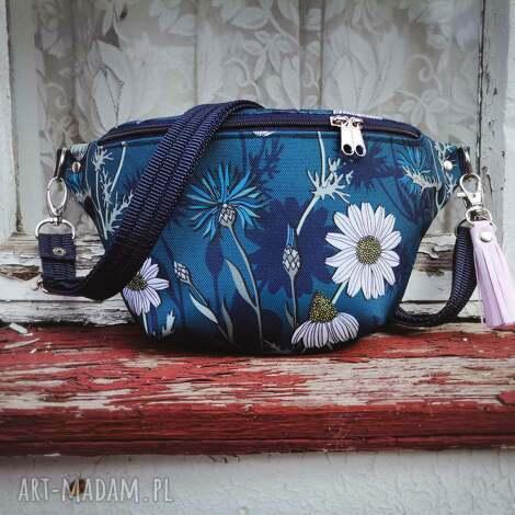 nerka mini chabry i stokrotki, kwiaty, torebka, nerka, saszetka biodrowa