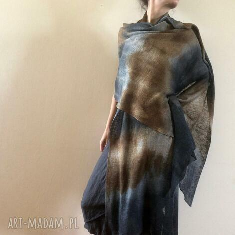Anna Damzyn - duży lniany szal grafit brąz, len unikat grafitowy, okrycie