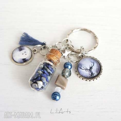 breloczek - jeleń, biały lis fiolka, lapis lazuli, brelok, lis, jeleń