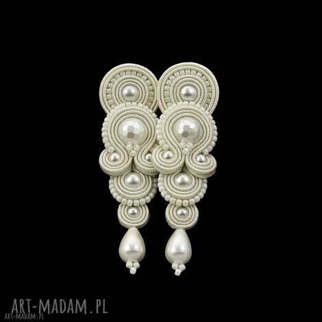 kolczyki ślubne glamour pearl soutache, sutasz, ślubne, perłowe, długie