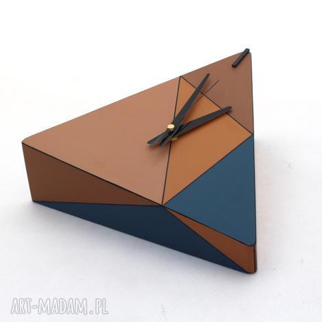 zegar drewniany geometric spicy - na ścianę, ścienny, ręcznie malowany