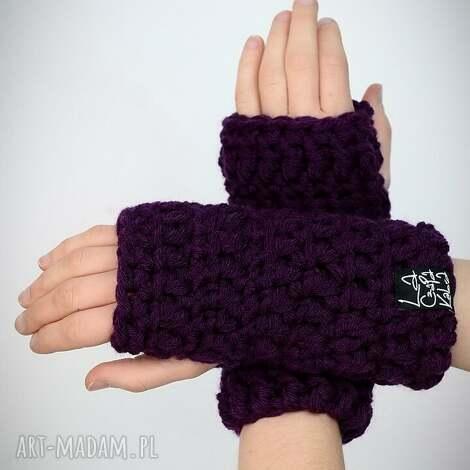 rękawiczki 23 - ciemne fioletowe - mitenki, prezent, upominek komplet, zestaw
