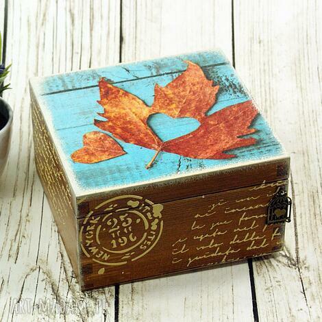 pudełka szkatułka drewniana - jesienne serce, pudełko, drewniane, liście