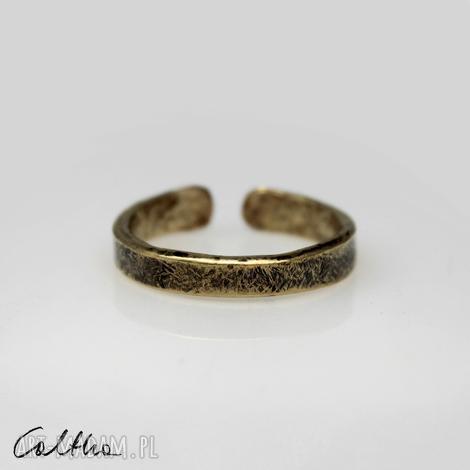 mosiężna obrączka rozm. l 190901-02 - pierścionek, regulowana otwarta