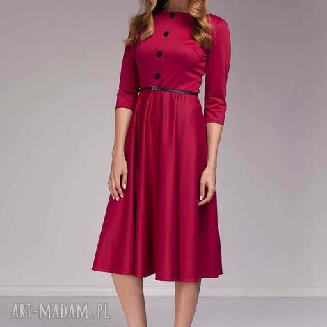 sukienka candice - moda, midi, amarantowa