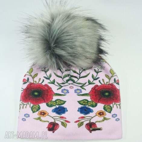 czapka beanie pompon z futra - kwiaty, maki, nadruk, czapa, czapka, pompon