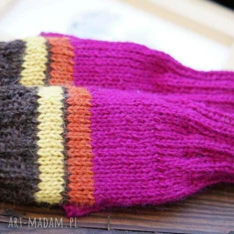 bezpalczatki 5 - rękawiczki, mitenki, bezpalczatki, amarant, paski, alpaka