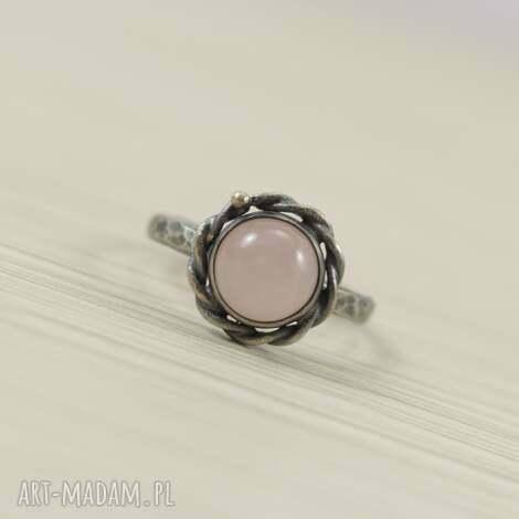 pierścionki kwarc różowy i srebro - pierścionek 2716, kwarc, kwarc-różowy