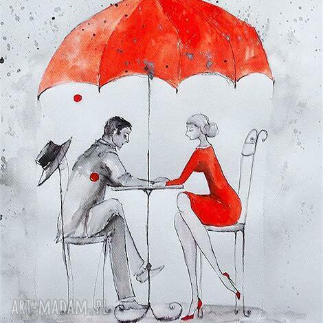 grafika akwarelą i piórkiem w deszczu artystki plastyka adriany laube, deszcz