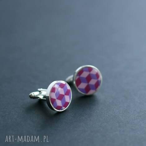 cube, fioletowe spinki do mankietów - spinki, męska, mężczyzna, mankiet