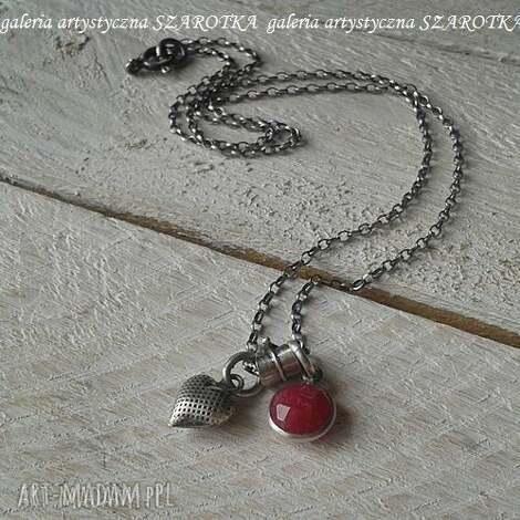 SZAROTKA: malinowe love minimalistyczny naszyjnik z kwarcu i srebra - kwarc malinowy, srebro