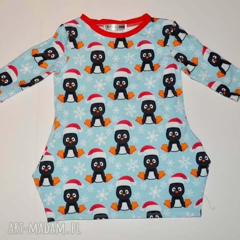 ubranka sukienka dla dziewczynki pingwinek, dzianina, zima, mikołaj