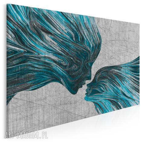 obraz na płótnie - twarze pocaŁunek turkus - 120x80 cm 13507 - twarze