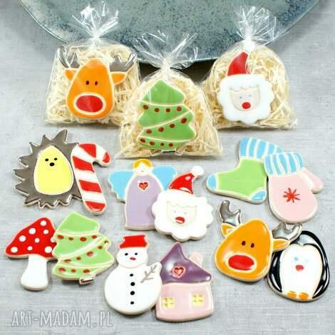 zestaw magnesów świątecznych, magnesy świąteczne, renifer, bałwanek, święty