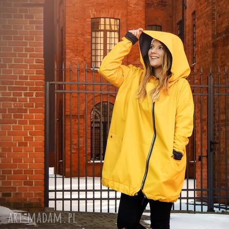 żółty płaszcz oversize ogromny kaptur na jesień rozmiar xs, żółta kurtka