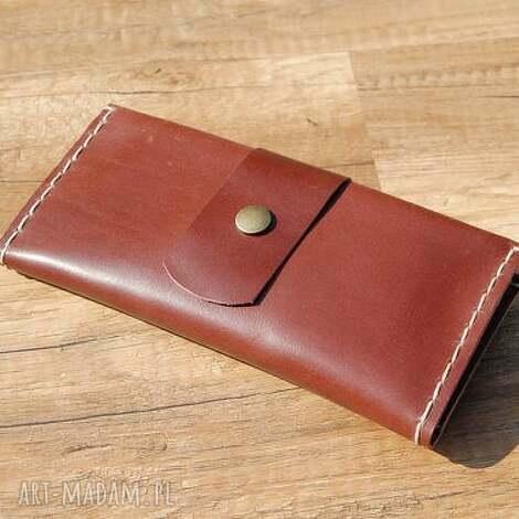 etoi design skórzane czekoladowe etui na telefon z portfelem, skóra, portfel