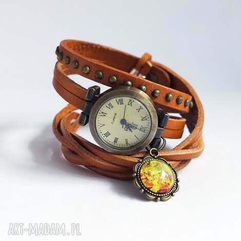 zegarek - liście owijany, skóra, nity, zegarek, skórzany, retro