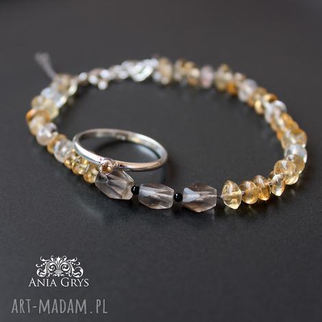 cytryn, jedwab i srebro- zestaw idealny, kwarcdymny, srebrny, pierścionek