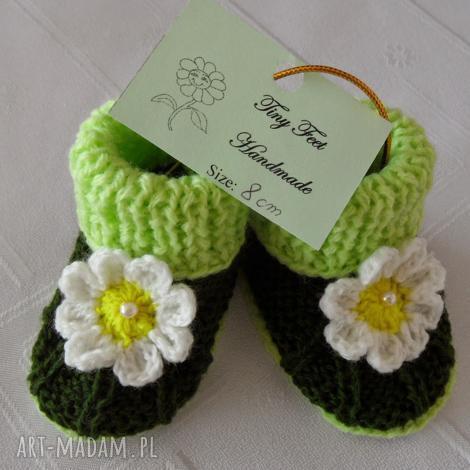 buciki dziecięce - rumianki żółte, buciki, kapciuszki, niemowlęce