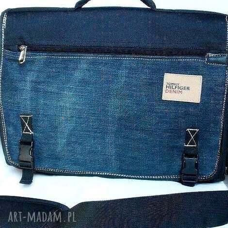 teczka na laptopa, torba, teczka, laptop, recykling, jeans, dokumenty