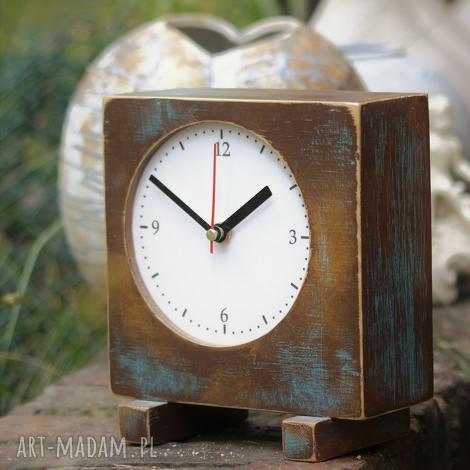 zegar drewniany sixty stojący, drewno, malowany, vitage styl, zegarek, prezent, złoty