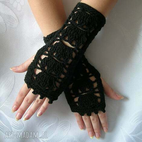 czarne ażurowe rękawiczki - mitenki - rękawiczki, mitenki, ocieplacze