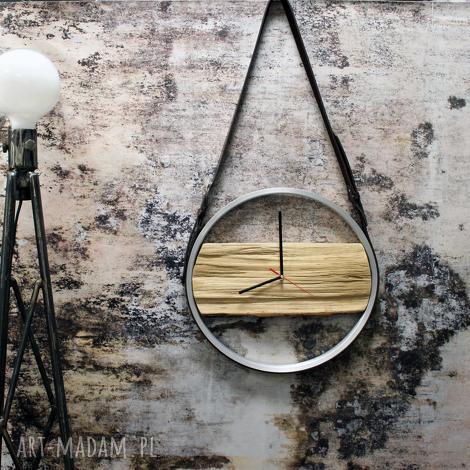 zegary zegar na skórzanych pasach, skórzany, drewniany, drewno, industrialny, prezent