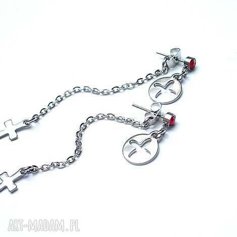 alloys collection /crucifix double /22-01-18/, stal, szlachetna, swarovski, krzyż