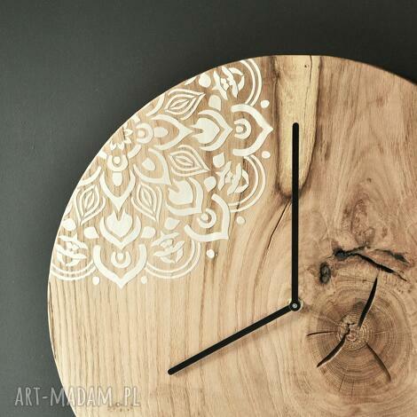 zegar loft - dębowy duży z motywem 43cm, debowy, boho, drewno, motyw