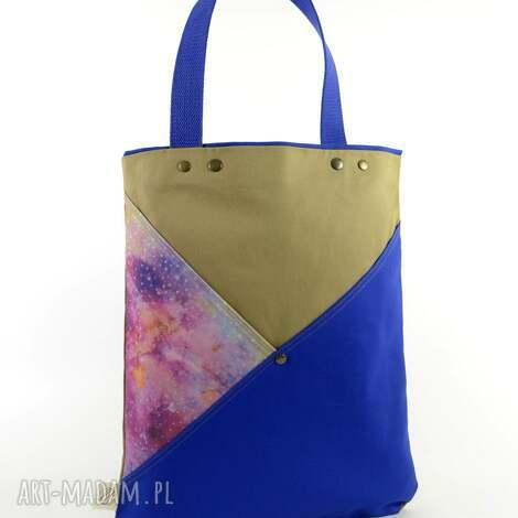 torba na ramię serenity blue, miejska, wegańska, kosmos, tote, shopper, nadruk