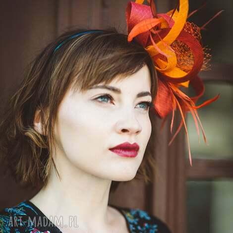 ozdoby do włosów czerwona awangarda, fascynator, czerwony, pomarańczowy, sinamay