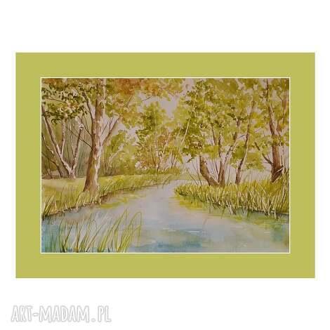 aleksandrab pejzaż leśny, akwarela, pejzaż, las, obraz, malarstwo dom
