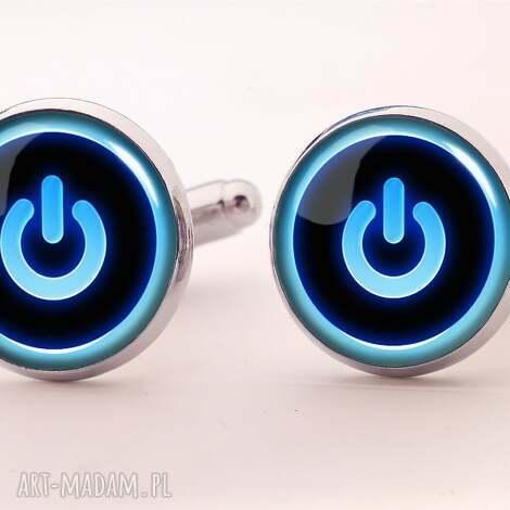power button - spinki do mankietów - power, button, zasilanie, spinki, mankietów