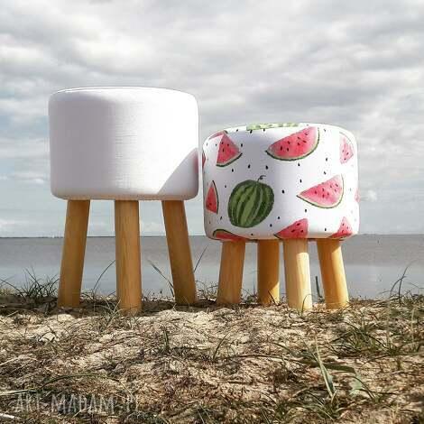 pufa biała gładka - 45 cm, puf, taboret, ryczka, vintage, siedzisko, stołek