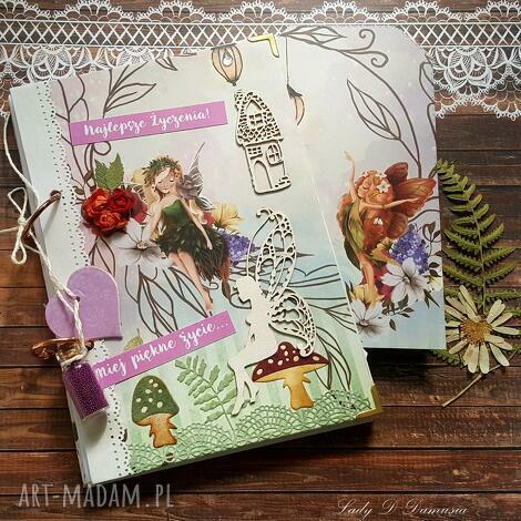 pamiętnik/ sekretnik / enchanted garden, notes, elfy, życzenia, kwiaty