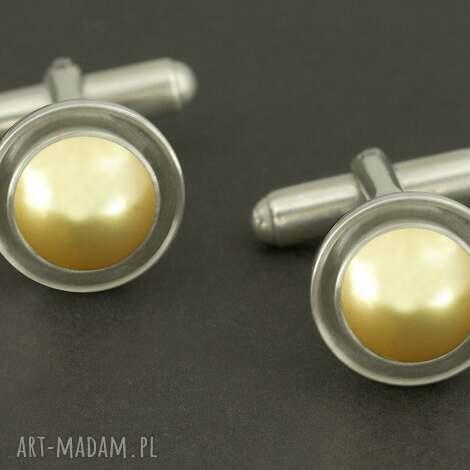 eleganckie spinki do mankietów złota perła swarovski , złote, spinki, mężczyzna