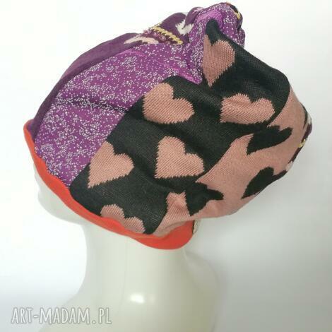 Ruda Klara: czapka damska smerfetka szyta patchworkowy. na podszewce, obwód głowy