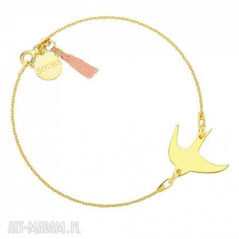bransoletki złota bransoletka z jaskółką zdobiona pastelowym łososiowym chwostem