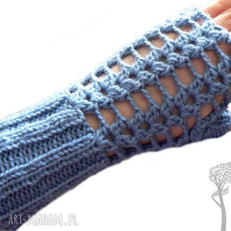 bezpalczatki 10 - mitenki ażurowe, jeansowe, szydełkowe rękawiczki