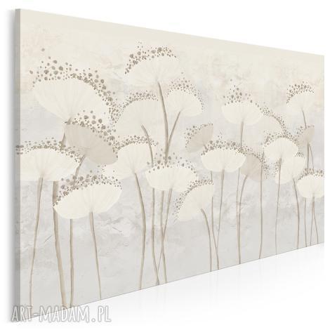 obraz na płótnie - dmuchawce kwiaty kremowy - 120x80 cm (90801) rośliny