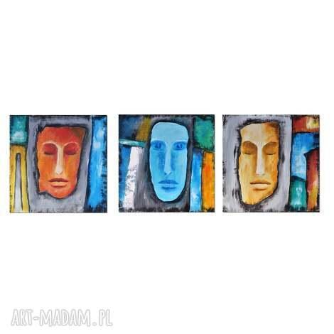 maski, nowoczesny obraz ręcznie malowany - obraz, nowoczesny, ręcznie, malowany