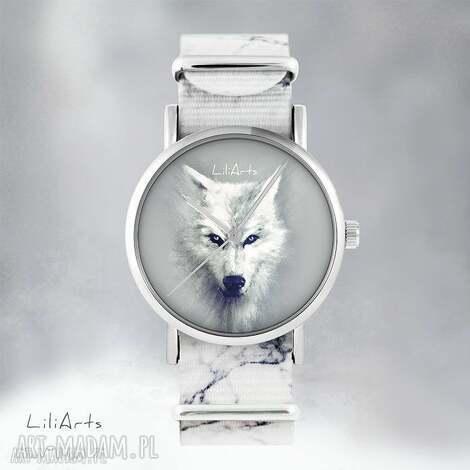 zegarki zegarek - biały wilk - marmurkowy, nato, zegarek, bransoletka, wilk