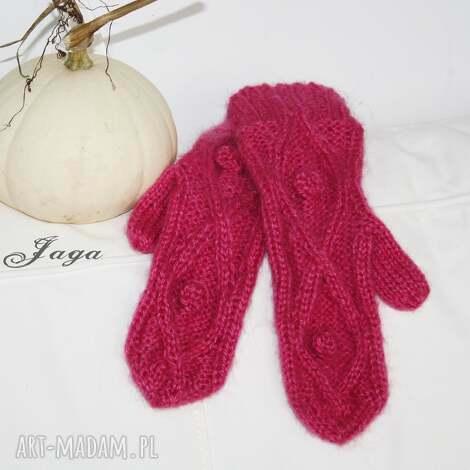 różowe rękawiczki - rękawiczki, kciuk, moher, wełna, norweski