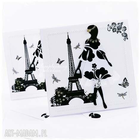 kobieta w paryżu - kartka, sukienka, koronka paryż, urodziny