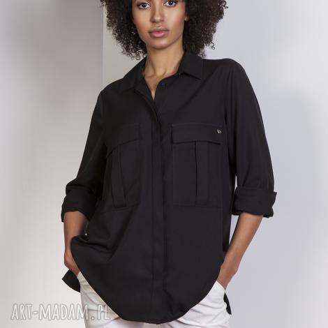 bluzki koszula oversize, k108 czarny, koszula, kieszenie, casual
