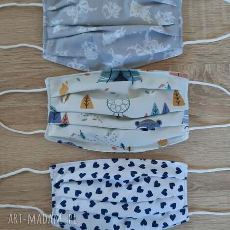maseczki bawełniane na twarz zestaw 3 sztuki, maseczka, bawełniana