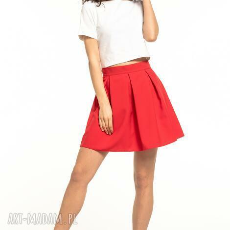 spódniczka mini z zakładkami, t316, czerwona, mini