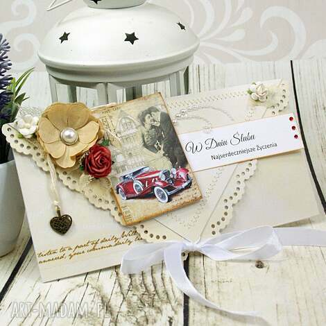 kartki kartka ślubna - miłość w klimatach retro, ślub, ślubna, kartka, kopertówka